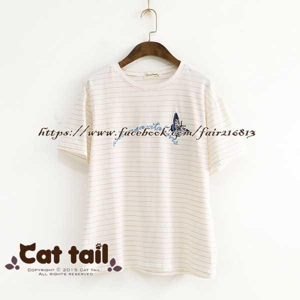~貓尾巴~LZ~02153 甜美蝴蝶刺繡短袖T恤 森林系 日系 棉麻 文青 清新