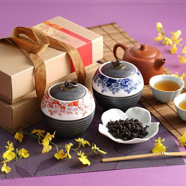 【茶鼎天】青花瓷鐵繡釉茶罐-台灣高山茶禮盒(100gx2罐)給最有品味的您!★ 0