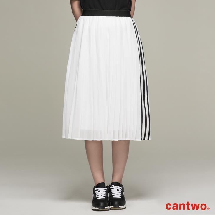 cantwo運動風側條百褶裙(共二色) 0