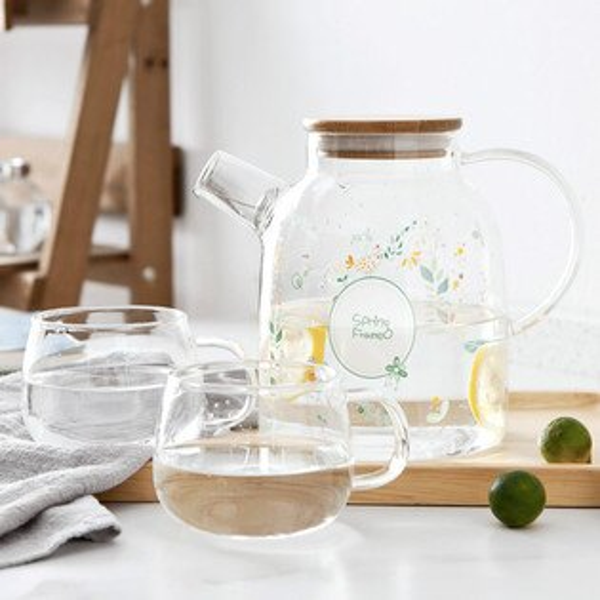 Alice餐廚好物: 現貨 韓式清新玻璃花卉貓咪耐熱玻璃水壺茶壺 2款 耐熱玻璃茶壺 質感單品 冷熱壺