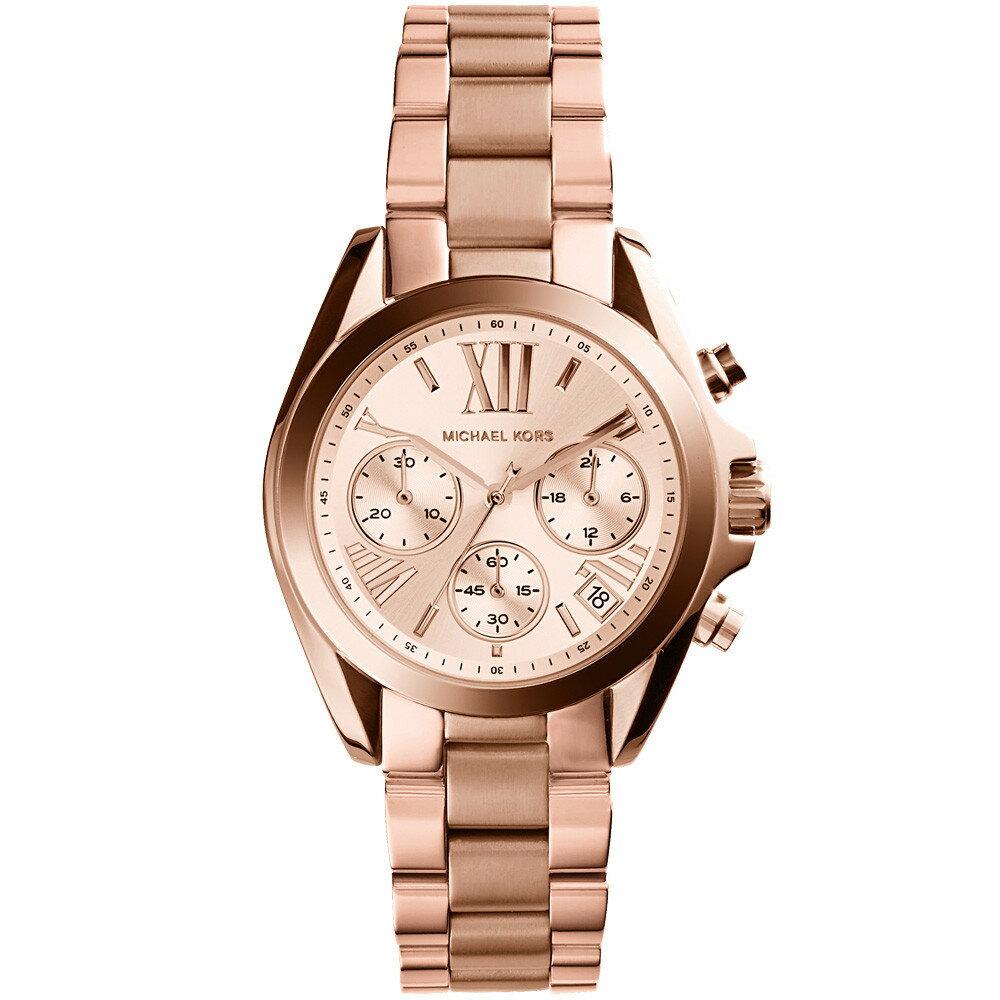 【限時8折 全店滿5000再9折】Michael Kors MK 玫瑰金熱吻巴黎三環計時手錶腕錶 MK5799 美國Outlet 正品代購 1