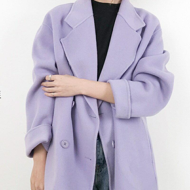 毛呢大衣羊毛外套-短版純色翻領雙排扣女外套4色73wb19【獨家進口】【米蘭精品】 0