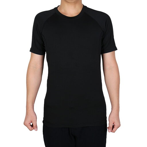 Men Polyester Athletic Short Sleeve Badminton Tennis Sports T-shirt Black M 502e8091f6ac4e30c86e7bfdbdcb3890