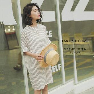 洋裝 襯衫式直條紋連身裙 2色-TMH