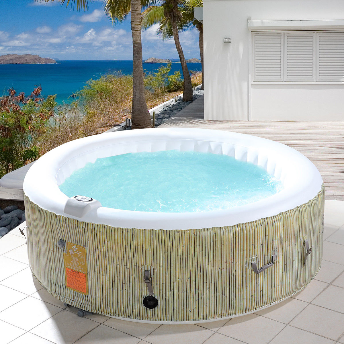 Costway: Goplus 4-6 Person Inflatable Hot Tub Outdoor Jets Portable ...