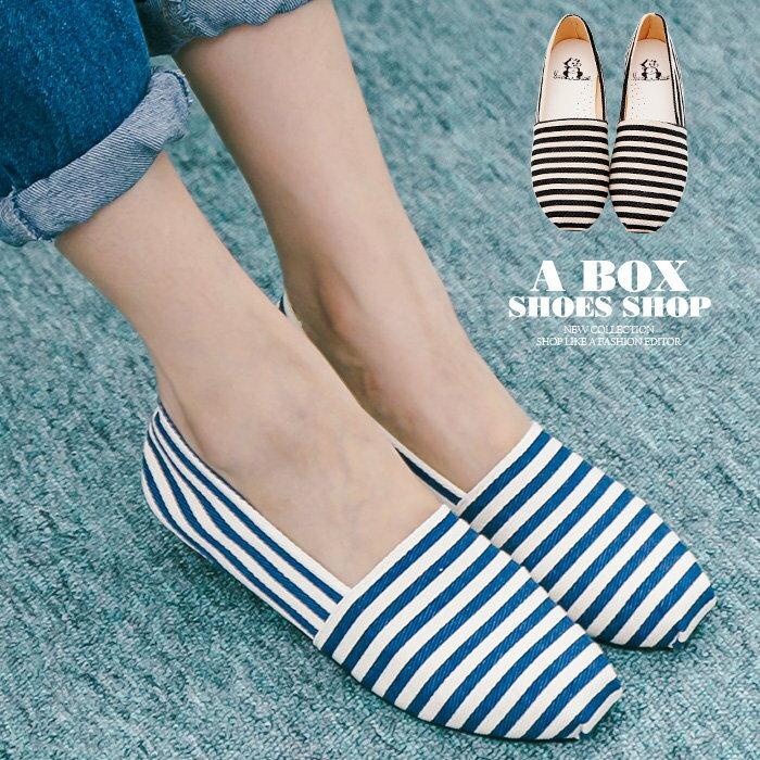【AWA516】*限時免運* MIT台灣製 海軍風簡單帆布條紋設計 豆豆鞋 圓頭包鞋 娃娃鞋 2色 0