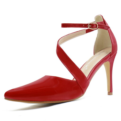 18-1# Women Asymmetrical Strap Stiletto Heel Pointy-Toe Pumps Red/US 6.5 1584f55bbdcdd73b2e9e473e7036e8da