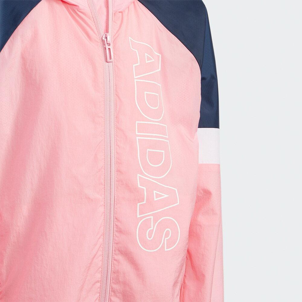 【領券最高折$300】Adidas LK BRAND WV JK 童裝 外套 連帽 風衣 網布 口袋 粉白【運動世界】GP0373