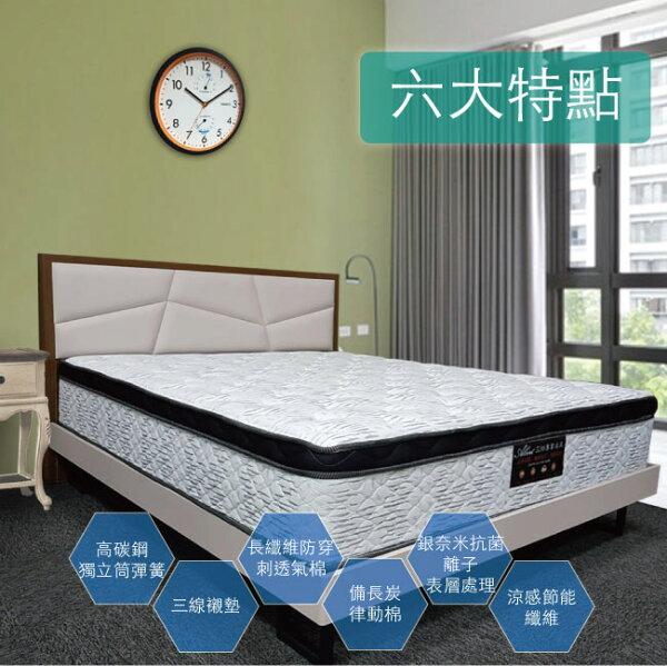 【Albert艾柏】艾柏正三線抗菌涼感3.5尺單人獨立筒床墊(3.5x6.2尺)加送EGLO檯燈乙個
