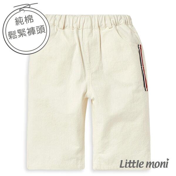 Littlemoni休閒素面五分褲-白色