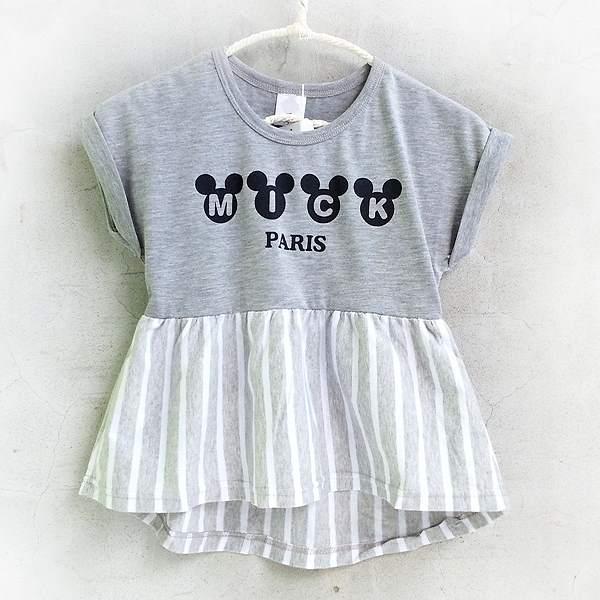 【班比納精品童裝】公仔頭拼接直條紋洋裝-灰【BO150709050】