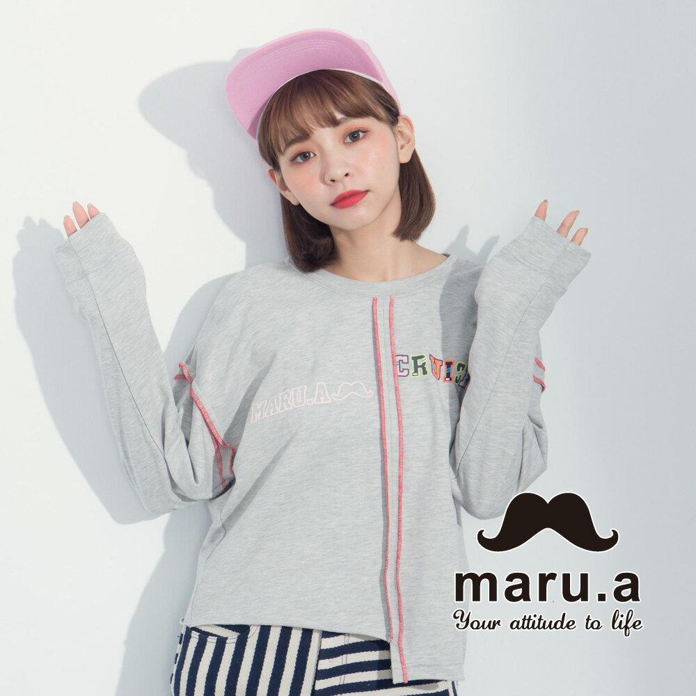 【maru.a】文字印花不對稱撞色車線T-Shirt  8321225 0