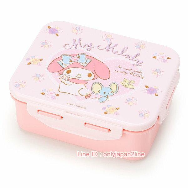 【真愛日本】17021000033日本製扣式便當盒-MM愛心花粉AAA   三麗鷗家族 Melody 美樂蒂  便當盒 保鮮盒
