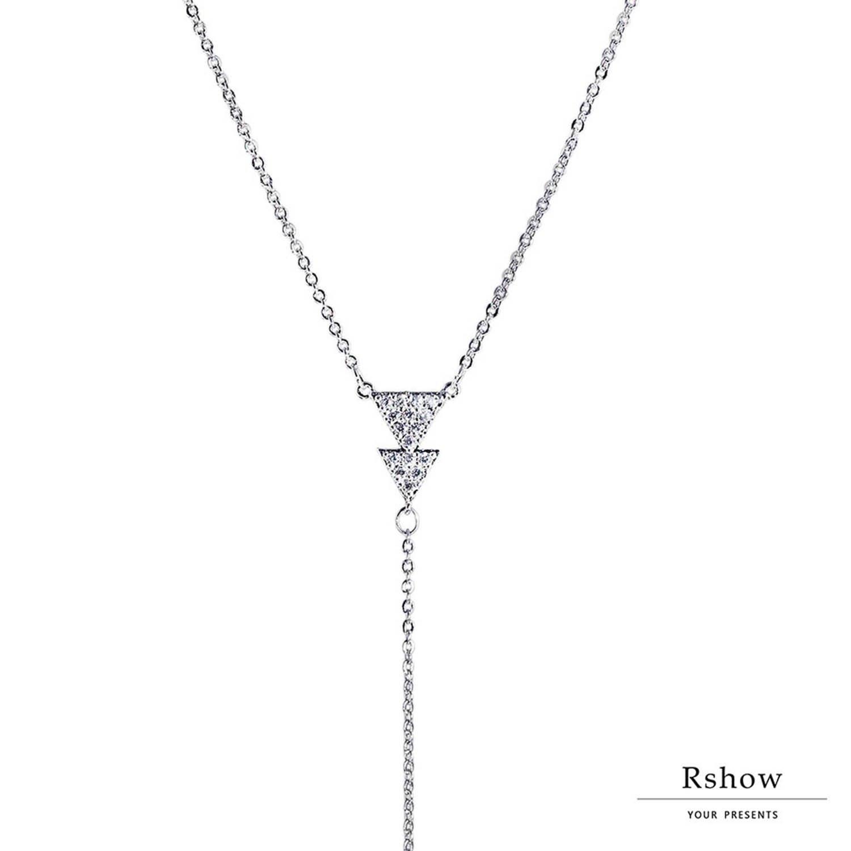 【Rshow】Minimal 簡約三角形 Y字垂墜鎖骨鍊 1