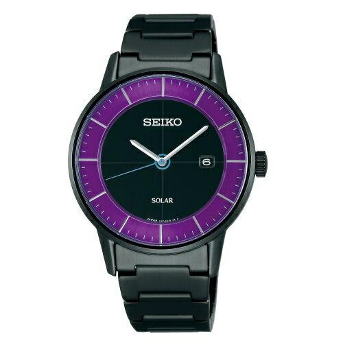 SEIKO 日系極簡美學太陽能時尚腕錶/SEIKO SPIRIT日系極簡美學太陽能中性腕錶/38mm/黑紫/V147-0AK0P