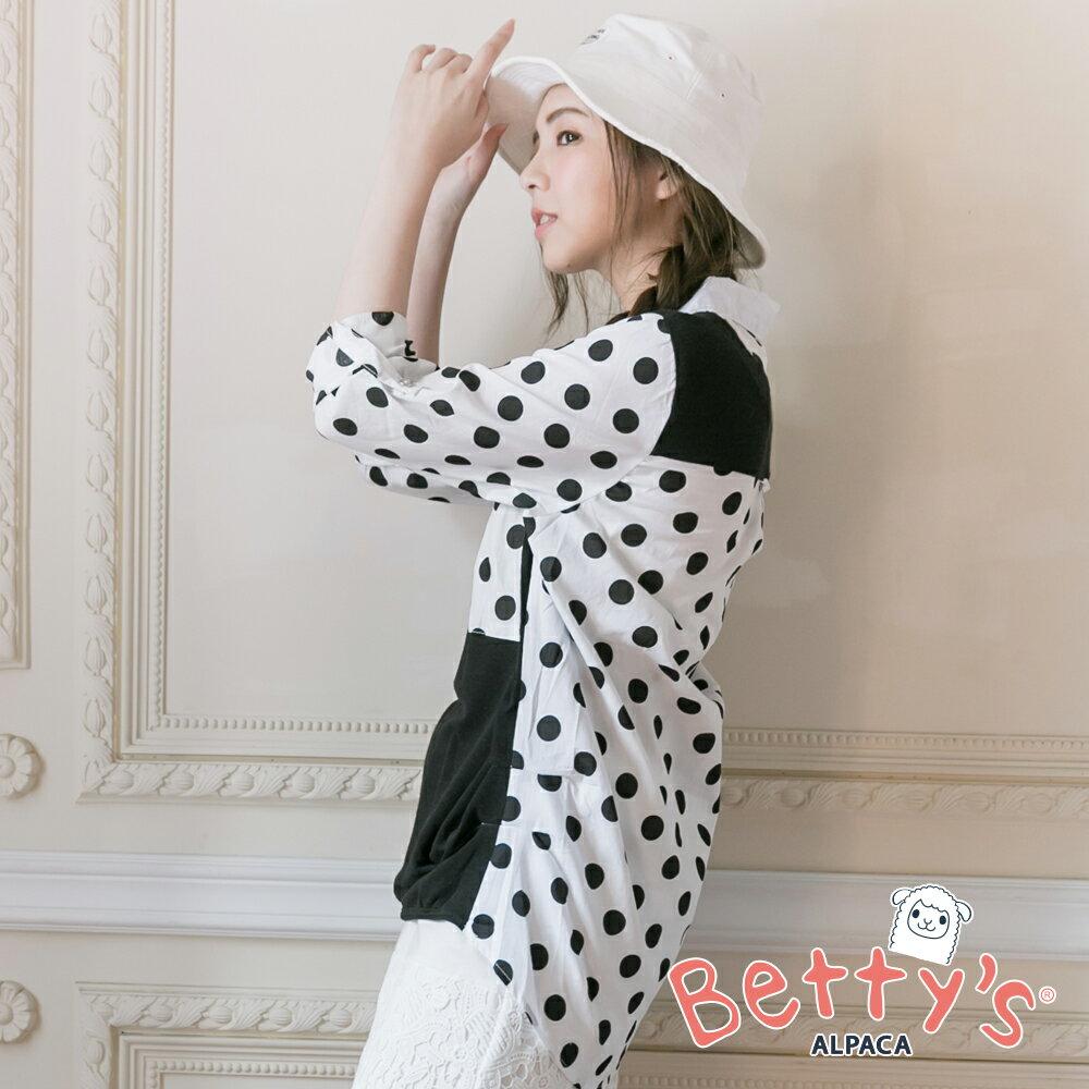 betty's貝蒂思Outlet 波卡圓點拼接針織長袖襯衫(黑色) ►夏日Fun價   指定款任2件85折