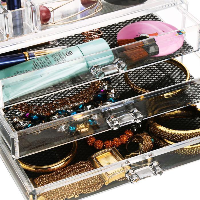 Acrylic Desktop Cosmetic 3 Drawers Grids Multi Tiers Display Storage 4