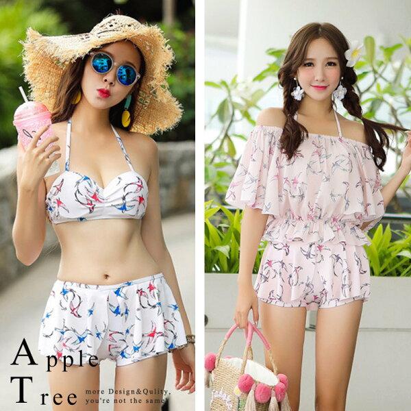 AT日韓-彩色燕子平角裙式三件套比基尼泳裝2色【804019】