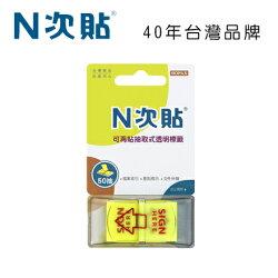 N次貼 66015 抽取式可再貼標籤 45x25mm,SIGN HERE,黃 50張/1條/卡