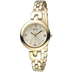 ALBA 浪漫夢天使SWAROVSKI晶鑽時尚女錶-全IP金(AH8332X1)
