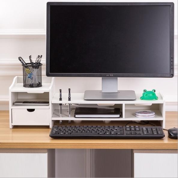 多功能電腦螢幕增高架 螢幕架 螢幕座 筆電座鍵盤架 鍵盤收納底座 加大加厚 木質DIY電腦螢幕雙層收納增高架
