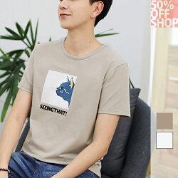 (現貨特價‧快速出貨)50%OFF SHOP休閒男裝 新款t恤趣味貓咪印花短袖T恤(2色)(M-2XL)【BA035698C】