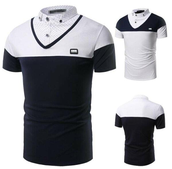 FINDSENSEZ1日系流行男時尚大碼立領假兩件拼接小波點短袖T恤短袖POLO衫特色短T