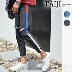潮流牛仔褲‧側邊三色線條印花膝破反摺牛仔長褲‧二色【NQM6027】-TAIJI-