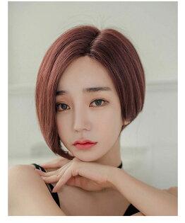 不對稱韓式短髮左側20右側31公分仿真頭頂抗菌內網100%頂級整頂真髮【MR92】☆雙兒網☆