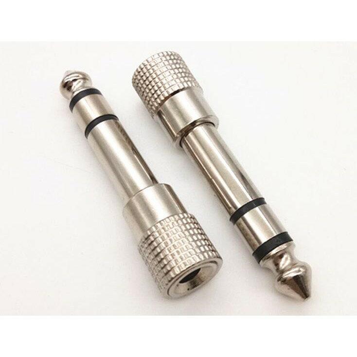 川木06  鍍鎳6.5公轉3.5母音訊轉接頭6.5mm轉3.5mm手機音響音箱轉換頭