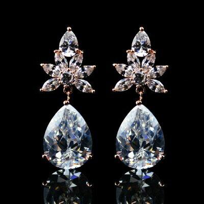 玫瑰金耳環鑲鑽純銀耳飾 ~ 高貴華麗 情人節生日 女飾品73hz22~ ~~米蘭 ~