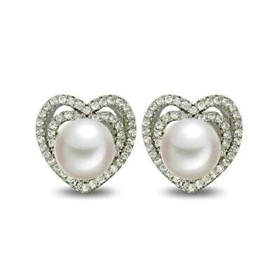 ~925純銀耳環鑲鑽耳飾~典雅 心型 母親節生日情人節 女飾品73dm154~ ~~米蘭
