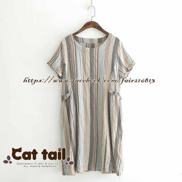 《貓尾巴》LZ-03272簡約復古彩色條紋短袖連身裙(森林系日系棉麻文青清新)