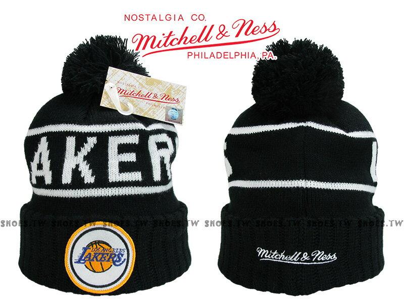 《下殺6折》Shoestw【5056161653215】Mitchell & Ness 毛帽 NBA毛帽 湖人隊 黑色 圓標LOGO 0