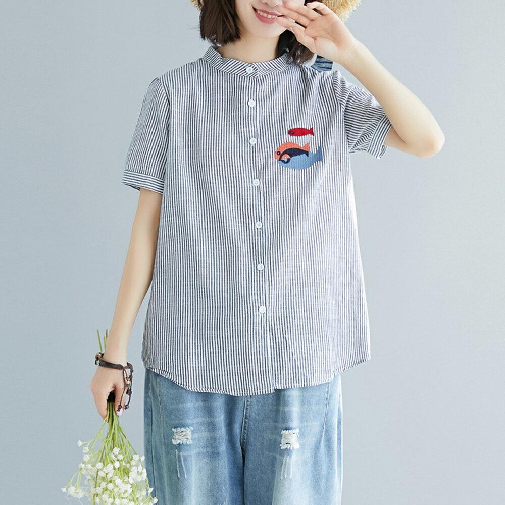 棉麻條紋刺繡小魚大碼短袖襯衫(2色M~2XL)【OREAD】 2