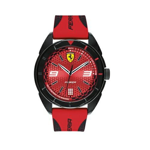 FERRARI輪胎紋大三針橡膠時尚腕錶紅0830517