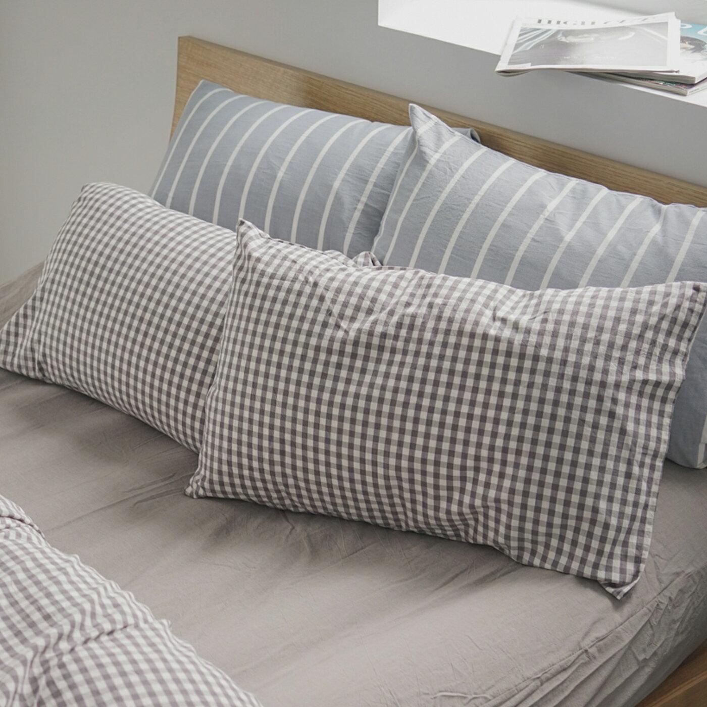 枕套~2入 ^~水洗棉~細格灰^~ 新疆棉寢織品;自然無印;簡約 ;翔仔居家