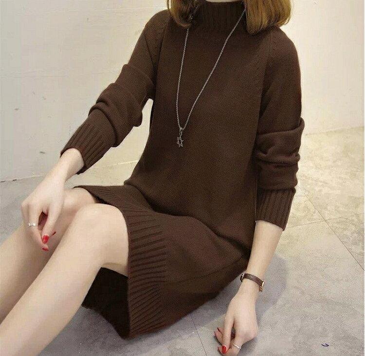甜美恬氛.中高領寬鬆顯瘦針織長袖連身裙- shiny藍格子【V2718】 2