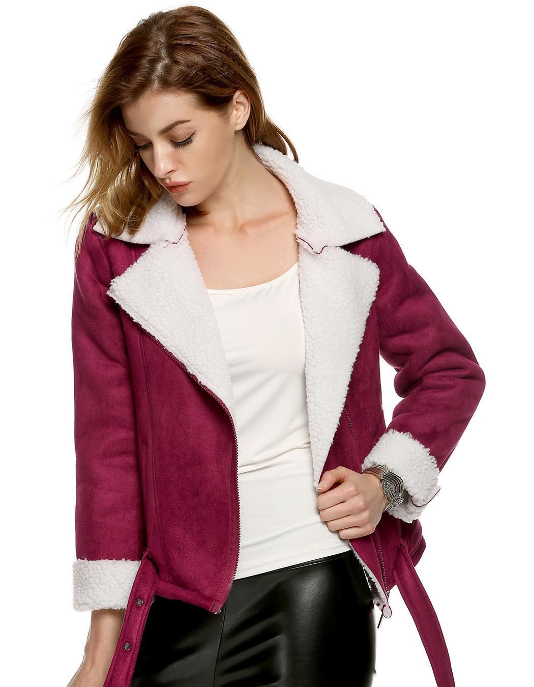 Women Lapel Long Sleeve Solid Fleeve Warm Coat 3