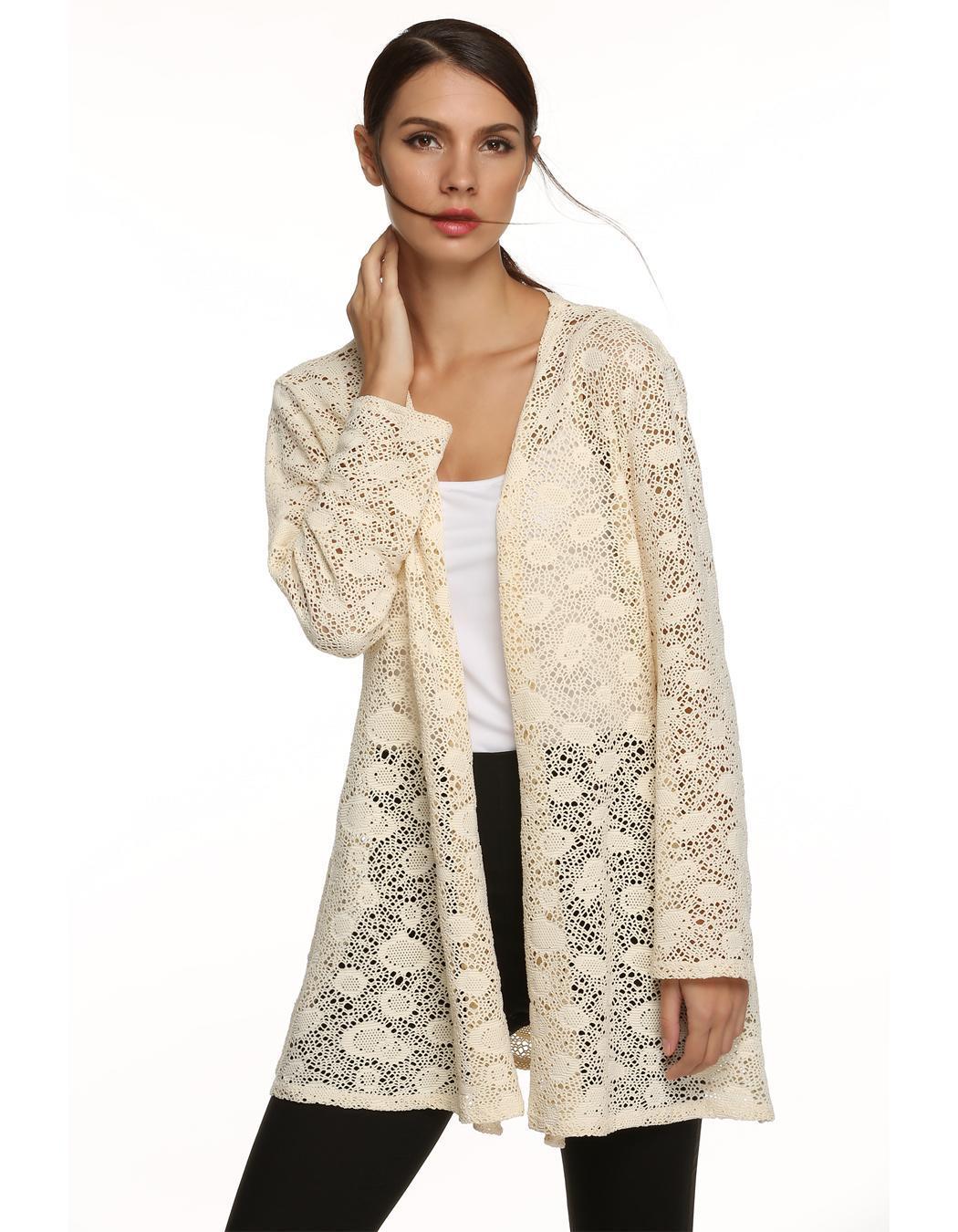Women Long Sleeve Hollow Out Crochet Long Cardigan Tops 1