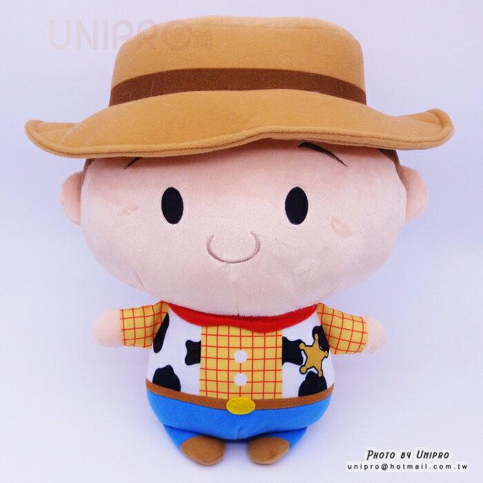 【UNIPRO】迪士尼正版 胡迪 WOODY Q版 大頭 34公分 絨毛玩偶 娃娃 玩具總動員