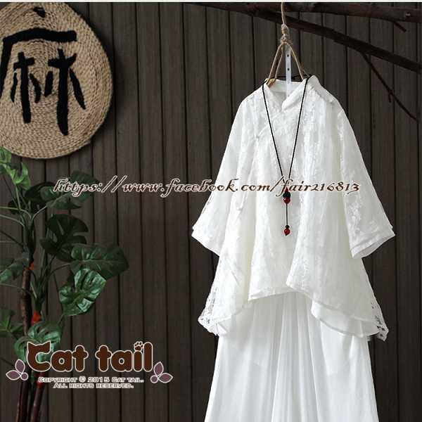 《貓尾巴》JP-01836中國風立領歐根紗短袖上衣(森林系日系棉麻文青清新)