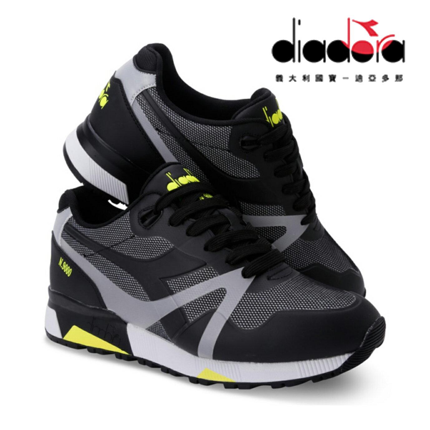 【巷子屋】義大利國寶鞋-DIADORA迪亞多納 男款N9000系列原廠防潑水反光復古慢跑鞋 [C6305] 黑螢光黃 超值價$980