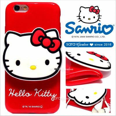 官方授權 三麗鷗 Sanrio Hello Kitty 立體 公仔 集線器 iPhone 6 6S Plus HTC 10 X9 手機殼 軟殼 大頭紅【D0220173】