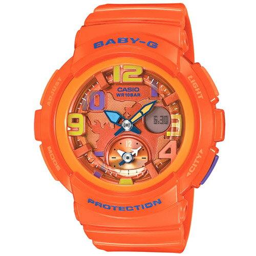 CASIO BABY-G BGA-160-4B雙顯雙時區流行腕錶/橘面44mm