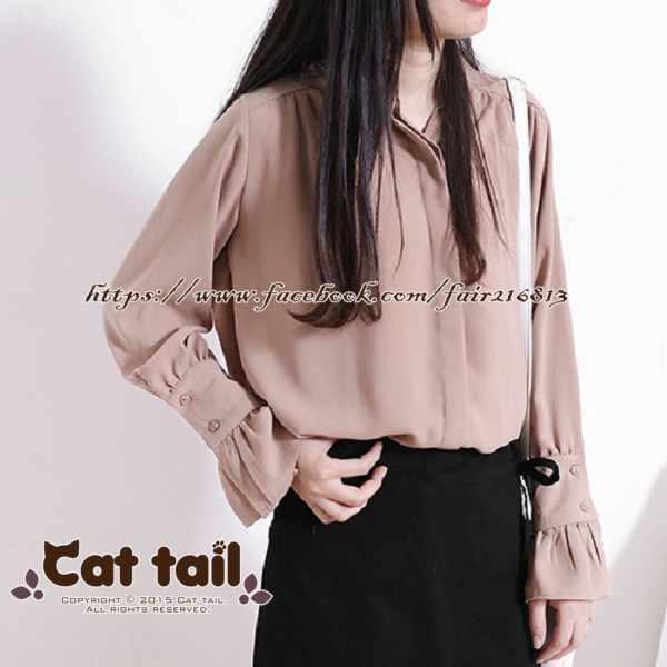 《貓尾巴》LZ-02900日系甜美立領珍珠扣長袖襯衫(森林系日系棉麻文青清新)