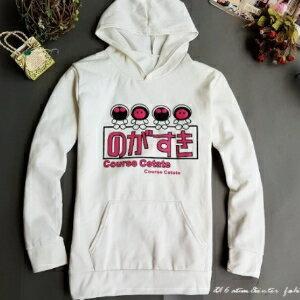 美麗大街【105091207】秋冬新款白底紅色小精靈日文加絨連帽T