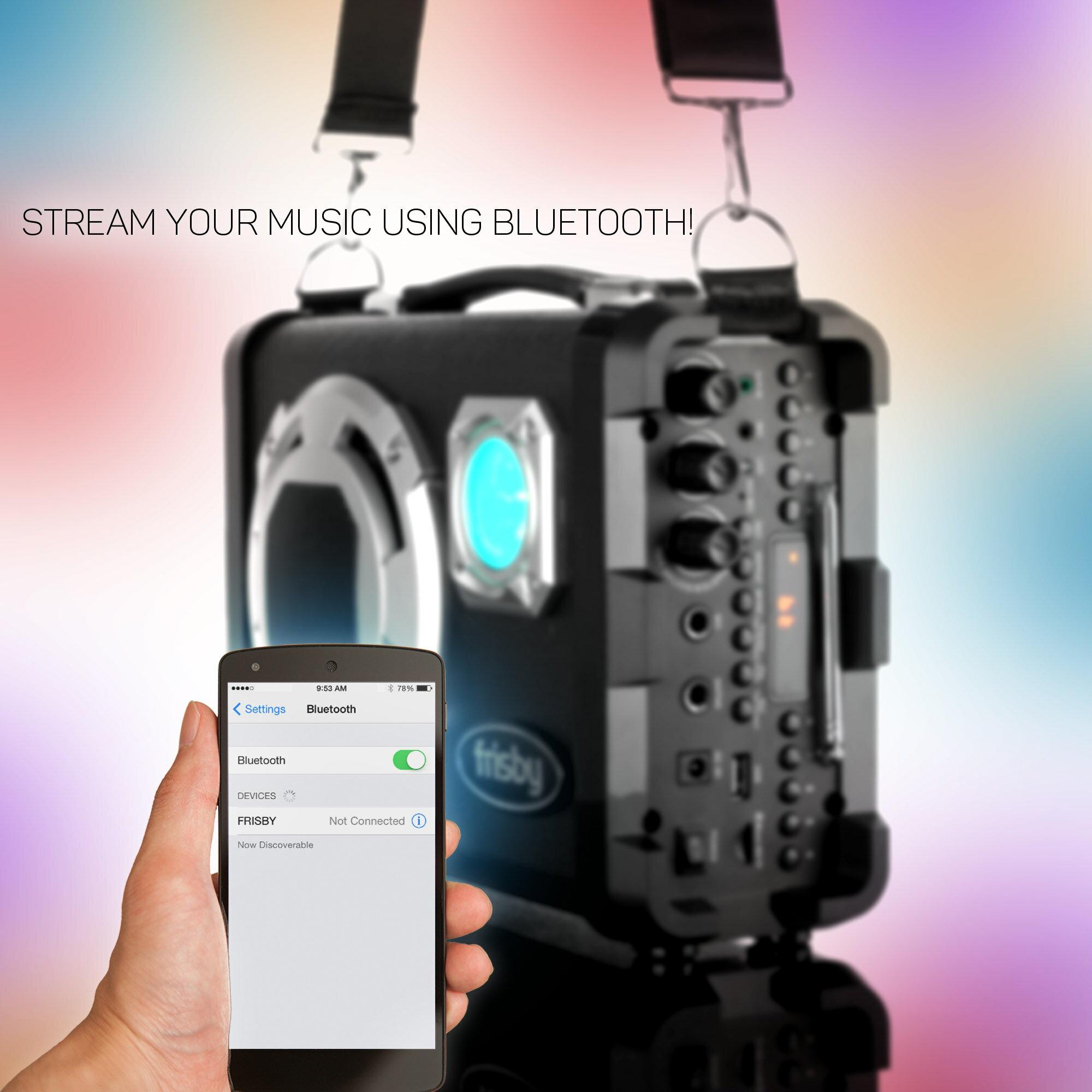 Frisby FS-4150P Bluetooth Karaoke Hi-Fi PA Portable Rechargeable Multimedia Speaker System w/ Mics 4