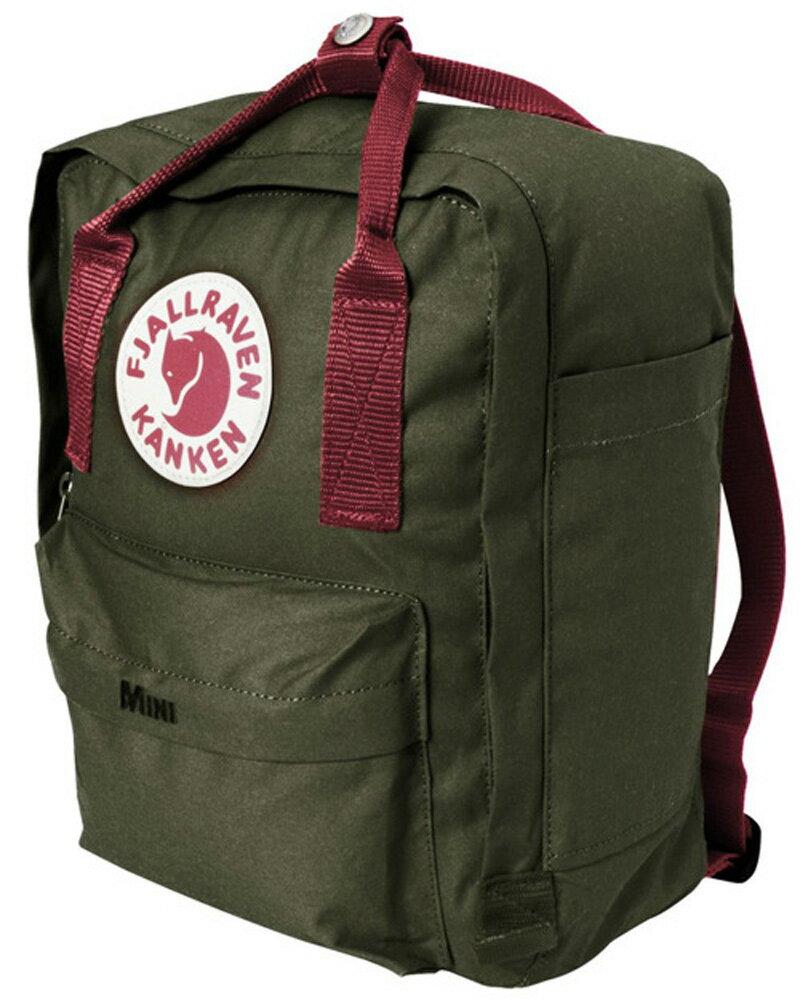 【鄉野情戶外專業】 Fjallraven |瑞典|  小狐狸 Kanken Mini 方型書包 方型背包 後背包 (深綠/紅) _23561