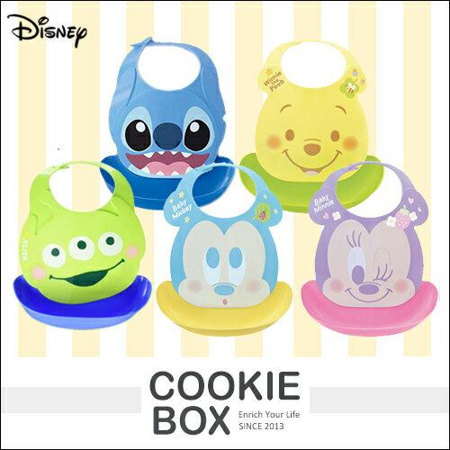 日本 迪士尼 立體 圍兜 用餐 圍兜 兒童餐具 Disney 米奇 米妮 維尼熊 史迪奇 三眼怪 *餅乾盒子*